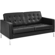Loft Leather Loveseat, Black, Leather 13088
