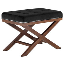 Facet Wood Bench, Black, Fabric 13109