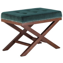 Facet Wood Bench, Green, Fabric 13110