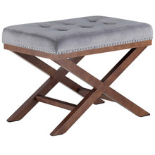 Facet Wood Bench, Grey, Fabric 13111