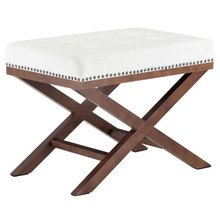 Facet Wood Bench, White, Fabric 13112