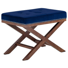 Facet Wood Bench, Navy, Fabric 13114