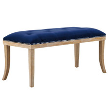 Expression Upholstered Fabric Bench, Navy, Fabric 13118