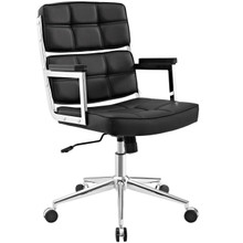 Portray Highback Upholstered Vinyl Office Chair, Black, Faux Leather 13154
