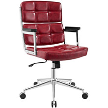Portray Highback Upholstered Vinyl Office Chair, Red, Faux Leather 13156