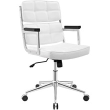 Portray Highback Upholstered Vinyl Office Chair, White, Faux Leather 13157
