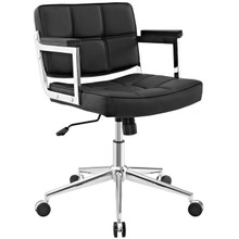 Portray Mid Back Upholstered Vinyl Office Chair, Black, Faux Leather 13158