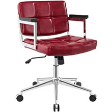 Portray Mid Back Upholstered Vinyl Office Chair, Red, Faux Leather 13160