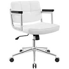 Portray Mid Back Upholstered Vinyl Office Chair, White, Faux Leather 13161
