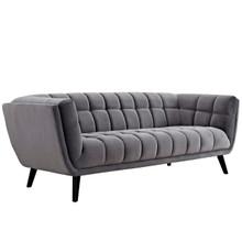 Bestow Velvet Sofa, Grey, Fabric 13200