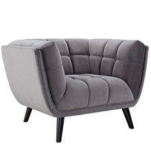 Bestow Velvet Armchair, Grey, Fabric 13203