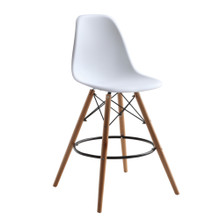 Woodleg Counter Chair Round Base, White, Plastic 13307