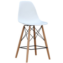 Woodleg Counter Chair Square Base, White, Plastic 13308