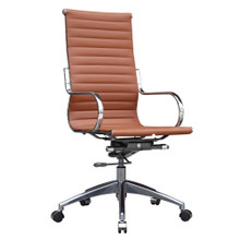 Twist Office Chair High Back, Brown, Faux Leather 13322