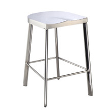 Swiss Polished Counter Stool, Silver, Metal 13340