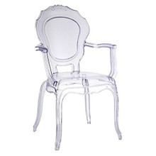 Traditional Dining Chair with Arms, Clear, Plastic 13376