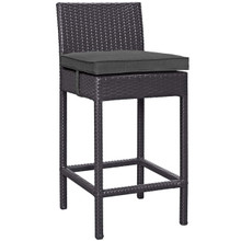 Convene Outdoor Patio Fabric Bar Stool, Rattan Wicker, Grey Gray 13209