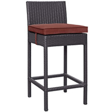 Convene Outdoor Patio Fabric Bar Stool, Rattan Wicker, Red 13210