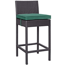 Convene Outdoor Patio Fabric Bar Stool, Rattan Wicker, Green 13211