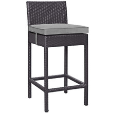 Convene Outdoor Patio Fabric Bar Stool, Rattan Wicker, Grey Gray 13212
