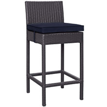 Convene Outdoor Patio Fabric Bar Stool, Rattan Wicker, Navy Blue 13213