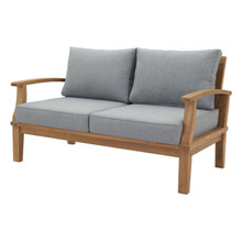 Marina Outdoor Patio Teak Loveseat, Wood, Grey Gray Natural 13224
