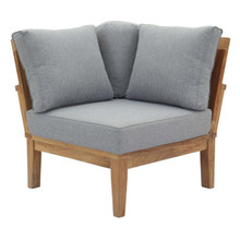 Marina Outdoor Patio Teak Corner Sofa, Wood, Grey Gray Natural 13226