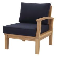 Marina Outdoor Patio Teak Left-Facing Sofa, Wood, Navy Blue 13228