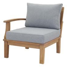 Marina Outdoor Patio Teak Right-Facing Sofa, Wood, Grey Gray Natural 13229