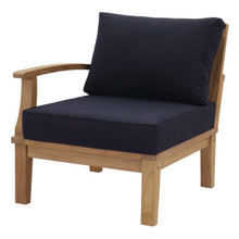 Marina Outdoor Patio Teak Right-Facing Sofa, Wood, Navy Blue 13230