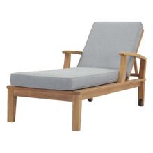 Marina Outdoor Patio Teak Single Chaise, Wood, Grey Gray Natural 13233
