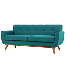 Engage Upholstered Fabric Loveseat, Fabric, Aqua Blue 13238