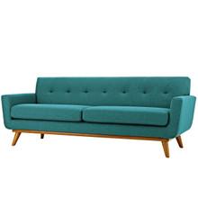 Engage Upholstered Fabric Sofa, Fabric, Aqua Blue 13240