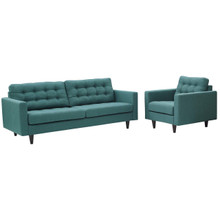 Empress Armchair and Sofa Set of 2, Fabric, Aqua Blue 13246