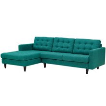 Empress Right-Facing Upholstered Fabric Sectional Sofa, Fabric, Aqua Blue 13258