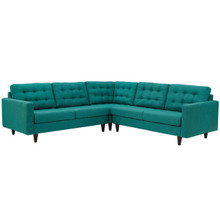 Empress 3 Piece Upholstered Fabric Sectional Sofa Set, Fabric, Aqua Blue 13260