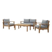 Marina 4 Piece Outdoor Patio Teak Set, Wood, Grey Gray Natural 13261