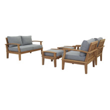 Marina 5 Piece Outdoor Patio Teak Set, Wood, Grey Gray Natural 13264