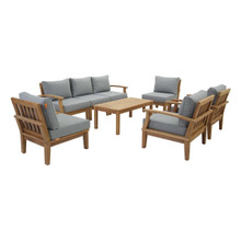 Marina 8 Piece Outdoor Patio Teak Set, Wood, Grey Gray Natural 13267