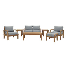 Marina 7 Piece Outdoor Patio Teak Set, Wood, Grey Gray Natural 13270