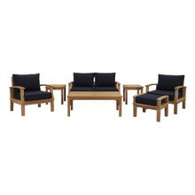 Marina 7 Piece Outdoor Patio Teak Set, Wood, Navy Blue Natural 13271