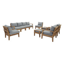Marina 10 Piece Outdoor Patio Teak Set, Wood, Grey Gray Natural 13276
