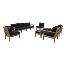 Marina 10 Piece Outdoor Patio Teak Set, Wood, Navy Blue Natural 13277