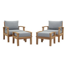 Marina 4 Piece Outdoor Patio Teak Set, Wood, Grey Gray Natural 13278