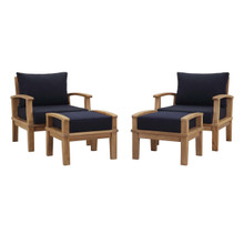 Marina 4 Piece Outdoor Patio Teak Set, Wood, Navy Blue Natural 13279