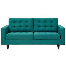 Empress Upholstered Fabric Loveseat, Fabric, Aqua Blue 13281