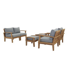 Marina 6 Piece Outdoor Patio Teak Set, Wood, Grey Gray Natural 13282