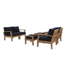 Marina 6 Piece Outdoor Patio Teak Set, Wood, Navy Blue Natural 13283