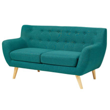 Remark Upholstered Fabric Loveseat, Fabric, Aqua Blue 13287