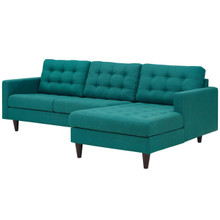 Empress Left-Facing Upholstered Fabric Sectional Sofa, Fabric, Aqua Blue 13291